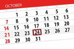 Calendar stadsplaneraren för månaden, stopptiddagen av veckan 2018 oktober, 24, onsdag royaltyfri illustrationer