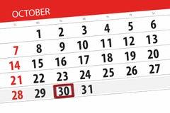 Calendar stadsplaneraren för månaden, stopptiddagen av veckan 2018 oktober, 30, tisdag stock illustrationer