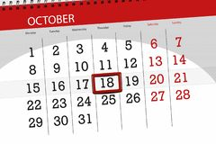 Calendar stadsplaneraren för månaden, stopptiddagen av veckan 2018 oktober, 18, torsdag royaltyfri illustrationer