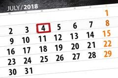 Calendar stadsplaneraren för månaden, stopptiddagen av veckan, onsdag, 2018 juli 4, självständighetsdagen Royaltyfria Bilder