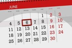 Calendar stadsplaneraren för månaden, stopptiddagen av veckan, onsdag, 2018 juni 6 Royaltyfria Bilder