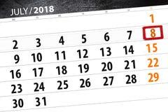 Calendar stadsplaneraren för månaden, stopptiddagen av veckan, söndag, 2018 juli 8 Arkivfoto