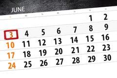 Calendar stadsplaneraren för månaden, stopptiddagen av veckan, söndag, 2018 juni 3 Arkivbilder