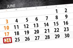 Calendar stadsplaneraren för månaden, stopptiddagen av veckan, söndag, 2018 juni 24 Arkivbild