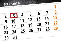 Calendar stadsplaneraren för månaden, stopptiddagen av veckan, tisdag, 2018 juli 3 Arkivfoton