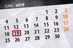 Calendar stadsplaneraren för månaden, stopptiddagen av veckan, tisdag, 2018 juni 19 Royaltyfri Fotografi