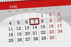Calendar stadsplaneraren för månaden, stopptiddagen av veckan, torsdag, 2018 juni 7 Arkivfoto