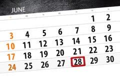 Calendar stadsplaneraren för månaden, stopptiddagen av veckan, torsdag, 2018 juni 28 Arkivfoton