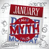 Calendar with Stamp Showing the False Myth of Blue Monday, Vector Illustration stock illustration