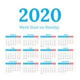 2020 calendar start on monday. Simple classic style 2020 year calendar, week starts on monday Royalty Free Stock Image