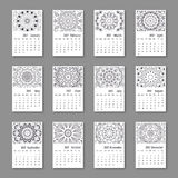 Calendar 2017 start sunday with hand drawn mandala. Vintage. Oriental style, black and white colors. Vector illustration Royalty Free Stock Photos