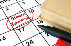 Calendar with start to learn Spanish. Learning concept Royalty Free Stock Image
