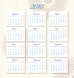 Calendar 2016 starting from monday Stock Images