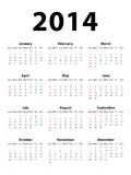 Calendar 2014. Calendar of 2014 starting on Sunday Stock Images