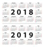 Calendar 2018 and 2019 starting from Sunday. Set of 12 Months. Vector illustration royalty free illustration
