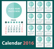 Calendar 2016 starting from Sunday. Royalty Free Stock Photography
