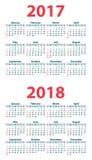 Calendar 2017 starting from Sunday. Vector illustration Royalty Free Stock Image