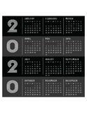 2020 Calendar Starts on Sunday Modern Art Deco Black royalty free stock images