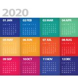 2020 Calendar Starts on Sunday Modern colorful bright. 2020 Calendar Starts on Sunday Art Deco white background colorful bright sunny stock illustration