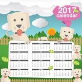 2017 Calendar Starts Sunday Cute Dogs In Backyard. Vector Illustration Vector Illustration