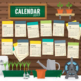 2017 Calendar Starts Sunday Gardening Concept. Royalty Free Stock Images