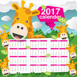 2017 Calendar Starts Sunday Giraffe In Forest. 2017 Calendar Starts Sunday Giraffe In Forest Vector Illustration vector illustration