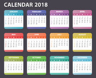 Calendar for 2018 starts sunday, vector calendar design 2018 year Stock Photo