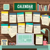 2017 Calendar Starts Sunday Workspace Concept. 2017 Calendar Starts Sunday Workspace Concept Vector Illustration Stock Photo