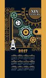 Calendar 2017 steam punk. Calendar 2017 mechanical steam punk iron parts and mounting frame background Steam Stock Photo
