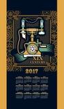 Calendar 2017 steam punk Stock Image