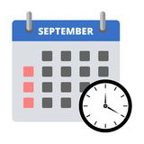 Calendar sticker September, Meeting Deadlines sticker. Simple vector icon Royalty Free Stock Photos
