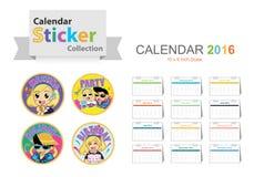 Calendar 2016 sticker theme collection Royalty Free Stock Photos