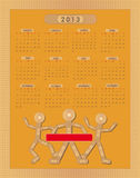 Calendar Sticking plaster Figure 2013. Template Royalty Free Stock Photos