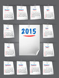 Calendar for 2015 on sticky notes attached with clip Stock Images