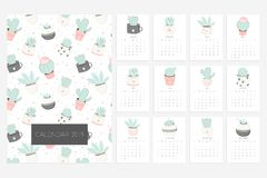 Calendar 2019. Fun and cute calendar with hand drawn succulents and cactus plants. Calendar 2019. Stock vector. Fun and cute calendar with hand drawn succulents royalty free illustration