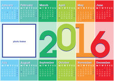 Calendar 2016 stripes. Calendar 2016 with vertical coloured stripes and blank space for photo Vector Illustration