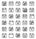 Calendar stroke icons set. Stock Photos