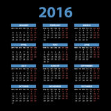 2016 calendar in the style of colorful card pattern - vector illustration. Art Stock Images