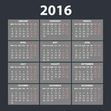 2016 calendar in the style of colorful card pattern - vector illustration. Art Royalty Free Stock Photo