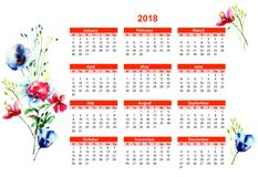 2018 calendar with Stylized flowers. Watercolor illustration Royalty Free Stock Photos