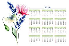 Calendar 2018 stylized flowers. Watercolor illustration Royalty Free Stock Photo