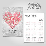 Calendar with stylized red coral heart Royalty Free Stock Photos