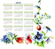 Calendar 2018 with stylized spring flowers. Watercolor illustration Stock Image