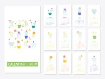2019 Calendar template design. Calendar 2019.Calendar with succulents and cactus plants Stock Photos