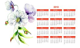 2018 calendar with summer flowers. Watercolor illustration Royalty Free Stock Photography
