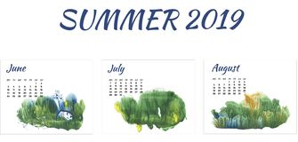 Calendar 2019 summer, forest in different season on white background royalty free stock photo