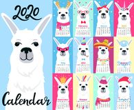 Calendar for 2020 from Sunday to Saturday. Cute llama in different costumes. Superhero, sailor in a vest, unicorn, Santa Claus. Funny animal. Alpaca cartoon royalty free illustration