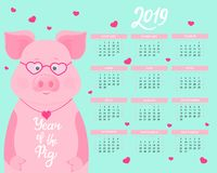 Calendar for 2019 from Sunday to Saturday. Cute pig with glasses and heart-shaped pendant. Funny animal Chinese New Year. Calendar for 2019 from Sunday to stock illustration