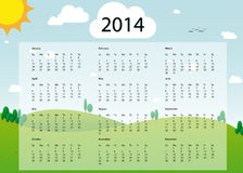 2014 calendar. In sunny day landscape style Royalty Free Illustration
