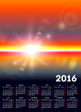 Calendar 2016 with sunny landscape Royalty Free Stock Images